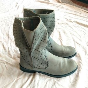 Leather Pull-on Blue Grey Boots Sz